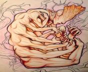"""NSFW; An older piece of mine from 2015, I still feel like it's not finished, but here it is! Enjoy. """"The God of Self-Exploration,"""" by me, crayola colored pencils, 2015 from sreejita de xxx nu8 5 2015 sex video xxn co"""